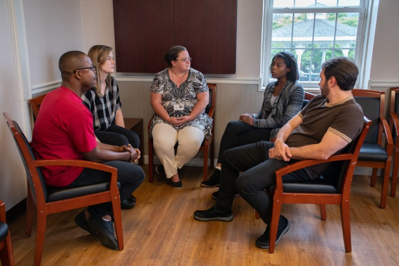 Clients participate in group therapy at Life Center of Galax